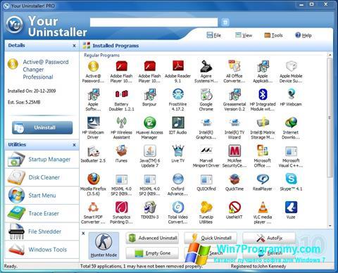 Скриншот программы Your Uninstaller для Windows 7