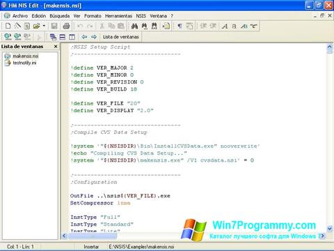 Скриншот программы NSIS для Windows 7