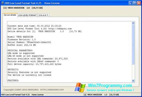 Скриншот программы HDD Low Level Format Tool для Windows 7