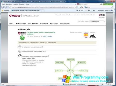 Скриншот программы McAfee SiteAdvisor для Windows 7