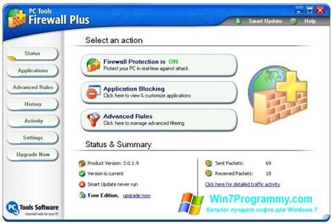Скриншот программы PC Tools Firewall Plus для Windows 7