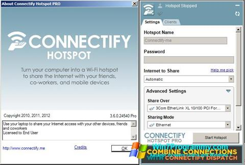 Скриншот программы Connectify Pro для Windows 7