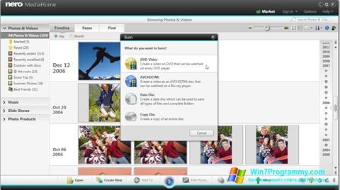 Скриншот программы Nero MediaHome для Windows 7