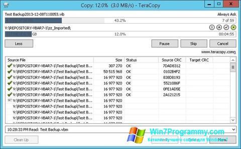 Скриншот программы TeraCopy для Windows 7