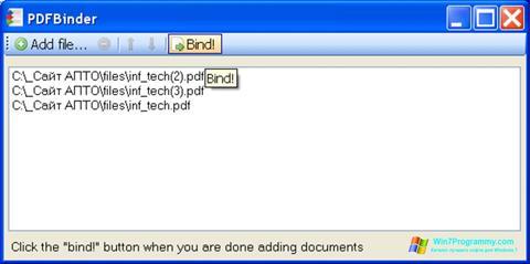 Скриншот программы PDFBinder для Windows 7