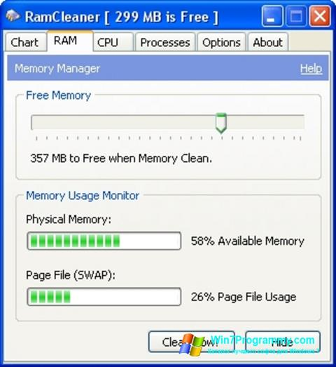 Скриншот программы RamCleaner для Windows 7