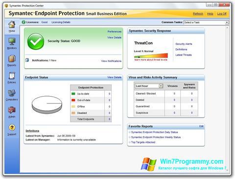 Скриншот программы Symantec Endpoint Protection для Windows 7