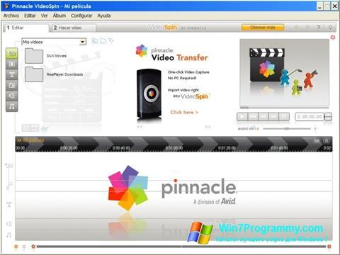 Скриншот программы Pinnacle VideoSpin для Windows 7
