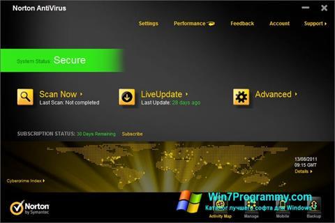 Скриншот программы Norton AntiVirus для Windows 7