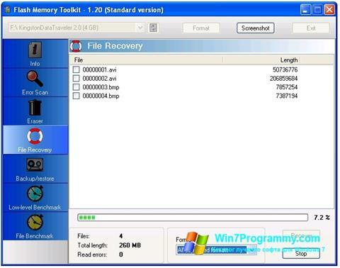 Скриншот программы Flash Memory Toolkit для Windows 7