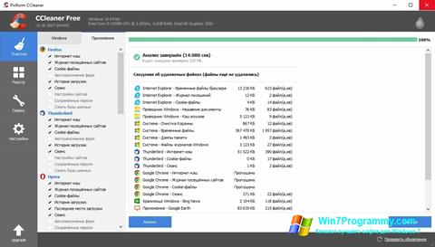 Скриншот программы CCleaner для Windows 7