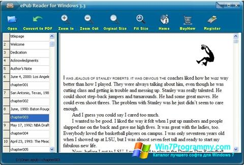 Скриншот программы Epub Reader для Windows 7