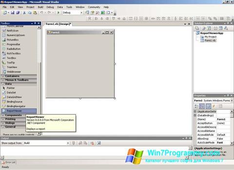Скриншот программы Microsoft Visual Studio для Windows 7
