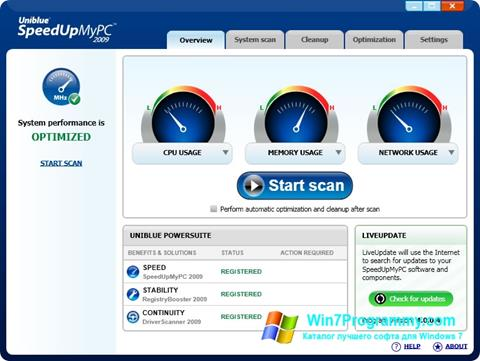 Скриншот программы SpeedUpMyPC для Windows 7