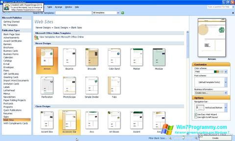 Скриншот программы Microsoft Publisher для Windows 7