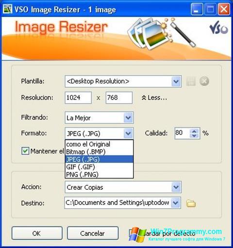 Скриншот программы VSO Image Resizer для Windows 7
