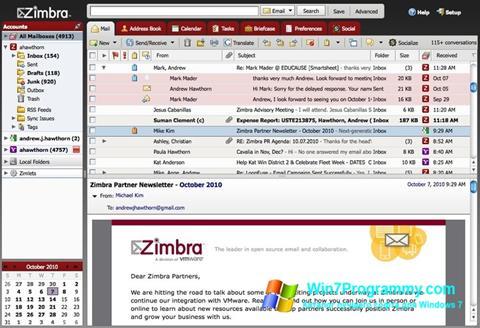 Скриншот программы Zimbra Desktop для Windows 7