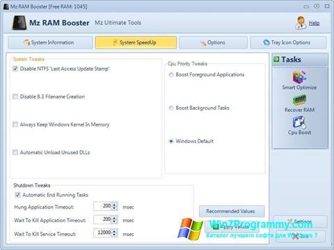 Скриншот программы Mz RAM Booster для Windows 7