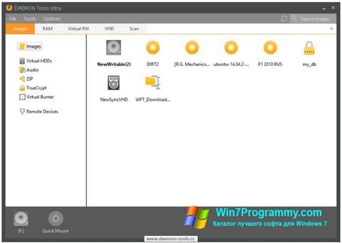 Скриншот программы DAEMON Tools Ultra для Windows 7