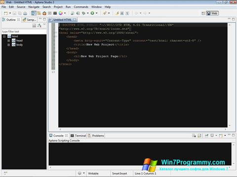 Скриншот программы Aptana Studio для Windows 7