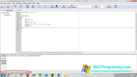 Скриншот программы Geany для Windows 7