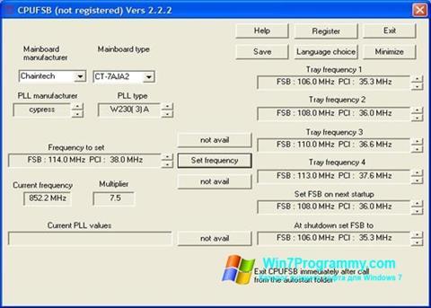 Скриншот программы CPUFSB для Windows 7