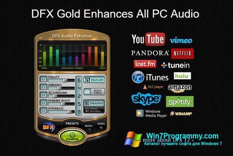 Скриншот программы DFX Audio Enhancer для Windows 7