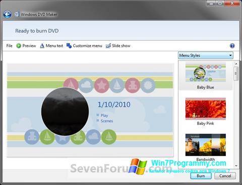 Скриншот программы DVD Maker для Windows 7