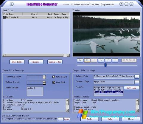 Скриншот программы Total Video Converter для Windows 7