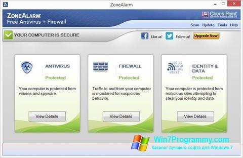 Скриншот программы ZoneAlarm для Windows 7