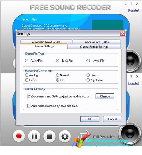 Скриншот программы Free Sound Recorder для Windows 7