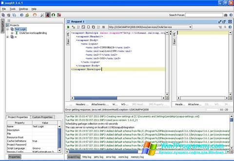 Скриншот программы SoapUI для Windows 7