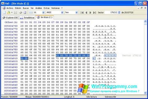 Скриншот программы HxD Hex Editor для Windows 7