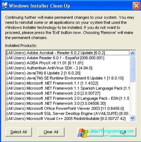 Скриншот программы Windows Installer CleanUp Utility для Windows 7