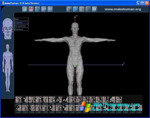 Скриншот программы MakeHuman для Windows 7