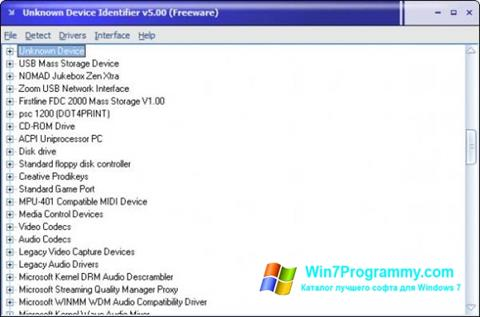 Скриншот программы Unknown Device Identifier для Windows 7