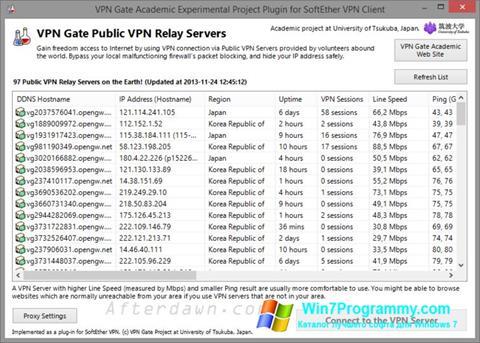 Скриншот программы VPN Gate для Windows 7