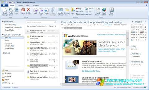 Скриншот программы Windows Live Mail для Windows 7