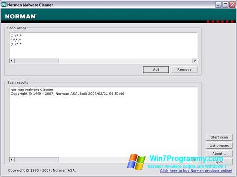 Скриншот программы Norman Malware Cleaner для Windows 7