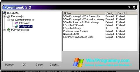 Скриншот программы PowerTweak для Windows 7