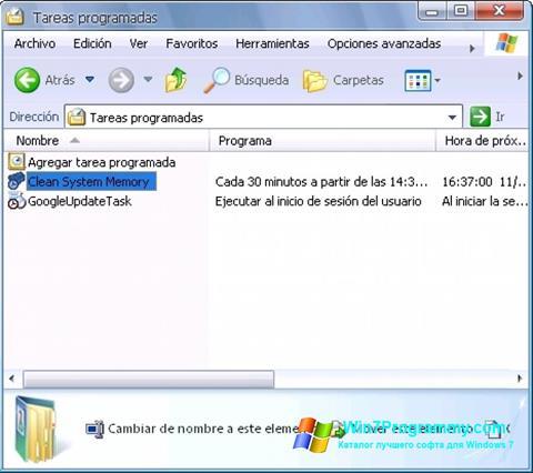 Скриншот программы CleanMem для Windows 7
