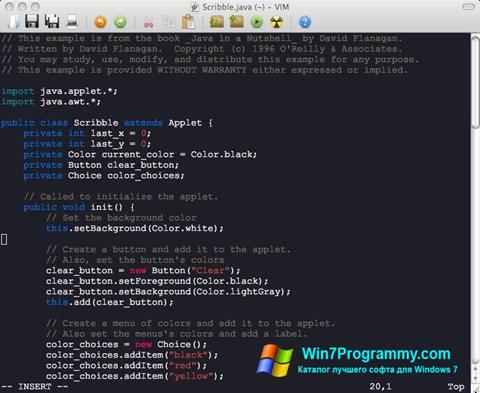 Скриншот программы Vim для Windows 7