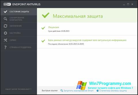 Скриншот программы ESET Endpoint Antivirus для Windows 7