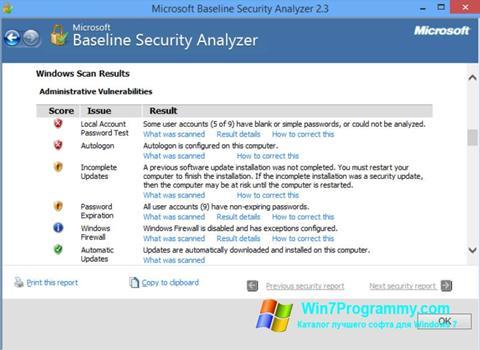 Скриншот программы Microsoft Baseline Security Analyzer для Windows 7