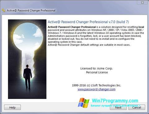 Скриншот программы Active Password Changer для Windows 7