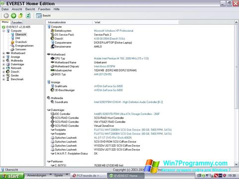 Скриншот программы EVEREST Home Edition для Windows 7