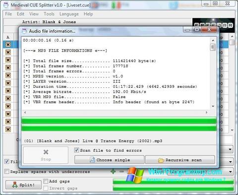 Скриншот программы Medieval CUE Splitter для Windows 7