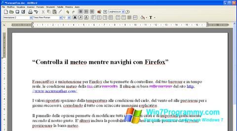 Скриншот программы AbiWord для Windows 7