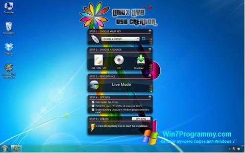 Скриншот программы LinuxLive USB Creator для Windows 7