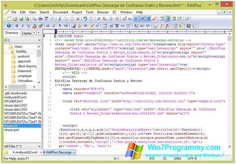 Скриншот программы EditPlus для Windows 7